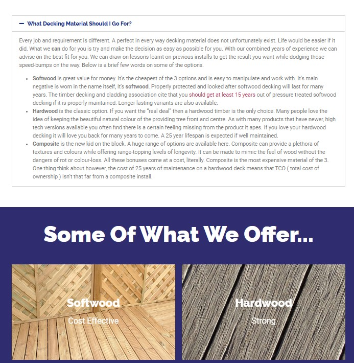 Technical writing about decking